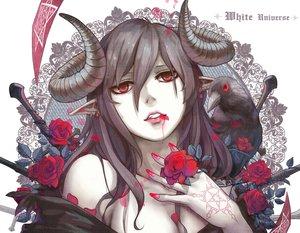 Rating: Safe Score: 163 Tags: animal aoiakamaou bird black_hair blood flowers horns long_hair original petals red_eyes rose tattoo User: Flandre93