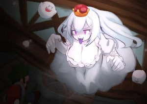Rating: Safe Score: 11 Tags: blush boo breasts cleavage crown dress genderswap hat long_hair luigi luigi's_mansion male pink_eyes princess_king_boo super_mario_bros tagme_(artist) white_hair User: otaku_emmy