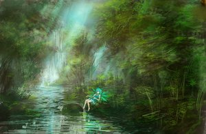 Rating: Safe Score: 107 Tags: aqua_eyes aqua_hair barefoot cirno fairy forest lm7_(op-center) short_hair touhou tree water waterfall wings User: opai