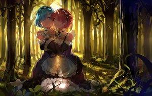 Rating: Safe Score: 155 Tags: 2girls blue_eyes blue_hair forest haraguroi_you maid pink_hair ram_(re:zero) red_eyes rem_(re:zero) re:zero_kara_hajimeru_isekai_seikatsu shoujo_ai tree twins User: mattiasc02