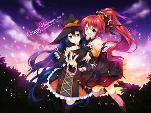 Rating: Safe Score: 99 Tags: 2girls halloween long_hair mocha_(naturefour) original thighhighs witch User: Wiresetc