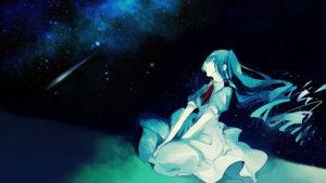 Rating: Safe Score: 27 Tags: aqua_hair dress hatsune_miku night non7 sky stars vocaloid User: FormX