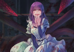 Rating: Safe Score: 204 Tags: blood dress feihong glasses kamishiro_rize long_hair purple_hair red_eyes signed tokyo_ghoul User: FormX