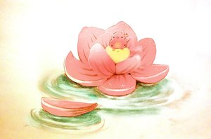 Rating: Safe Score: 34 Tags: animal bird chai_(artist) flowers original petals polychromatic water User: otaku_emmy