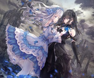 Rating: Safe Score: 74 Tags: 2girls aliasing apple228 bicolored_eyes black_hair clouds cropped elbow_gloves flowers gloves goth-loli headdress lolita_fashion long_hair original petals rose ruins shoujo_ai sky white_hair User: mattiasc02