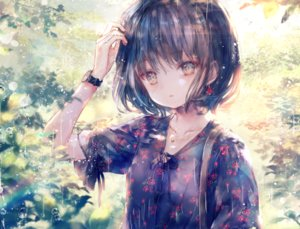 Rating: Safe Score: 70 Tags: black_hair brown_eyes close leaves onineko original rain short_hair water wristwear User: otaku_emmy