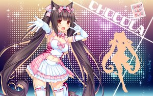 Rating: Safe Score: 52 Tags: animal_ears bow catgirl chocola_(sayori) elbow_gloves gloves long_hair navel nekopara sayori tail thighhighs twintails watermark User: RyuZU