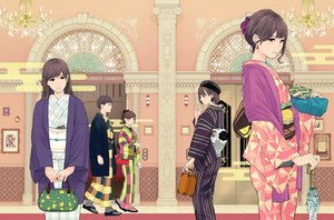 Rating: Safe Score: 9 Tags: aliasing black_eyes black_hair brown_hair group hat japanese_clothes kimono long_hair male munakata_(hisahige) original ponytail short_hair umbrella waifu2x User: RyuZU