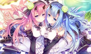 Rating: Safe Score: 100 Tags: 2girls anthropomorphism azur_lane blue_hair demon goth-loli ikazuchi_(azur_lane) inazuma_(azur_lane) kabocha_usagi lolita_fashion long_hair pink_eyes pink_hair signed waifu2x User: sadodere-chan