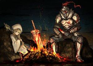Rating: Safe Score: 80 Tags: aliasing armor blonde_hair blood blue_eyes dark dark_souls fire goblin_slayer! goblin_slayer_(character) kan_(aaaaari35) long_hair male parody priestess_(goblin_slayer!) staff sword weapon User: Tensa