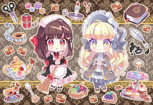 Rating: Safe Score: 25 Tags: 2girls apron blonde_hair book bow brown_hair cake cape cherry drink food fruit headdress ie_(nyj1815) lolita_fashion long_hair maid original pantyhose red_eyes strawberry yellow_eyes User: otaku_emmy