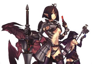 Rating: Safe Score: 195 Tags: 2girls armor breasts cleavage dragon nagi_ryou panties pointed_ears spear staff tagme tattoo underwear weapon white User: Mund