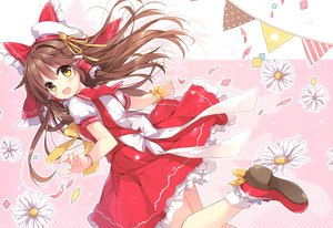 Rating: Safe Score: 38 Tags: blush bow brown_hair dress flowers hakurei_reimu hat lolita_fashion long_hair mochizuki_shiina ribbons scan socks touhou yellow_eyes User: otaku_emmy