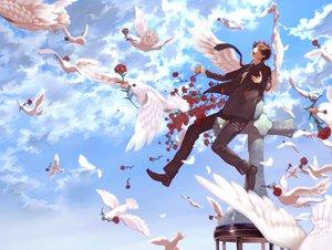 Rating: Safe Score: 50 Tags: all_male animal anthropomorphism axis_powers_hetalia bird clouds flowers male rose sky spain_(hetalia) suit tie wings User: HawthorneKitty