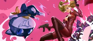 Rating: Safe Score: 36 Tags: animal blonde_hair blue_eyes bodysuit breasts cat gun long_hair mask morgana_(persona_5) persona_5 phamoz pink tail takamaki_anne twintails weapon User: BattlequeenYume