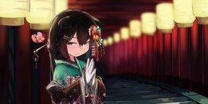 Rating: Safe Score: 39 Tags: animal_ears brown_hair flowers gloves japanese_clothes kimono long_hair natori_youkai original red_eyes stairs torii User: RyuZU