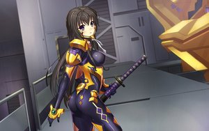 Rating: Safe Score: 236 Tags: ass blush bodysuit brown_hair dance_of_eternity erect_nipples katana long_hair muv-luv muv-luv_alternative purple_eyes ribbons skintight sword takamura_yui weapon User: FormX