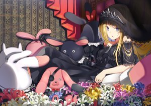Rating: Safe Score: 24 Tags: blonde_hair blue_eyes bunny dress eyepatch flowers goth-loli headdress lolita_fashion long_hair makadamixa original signed tiara User: Nepcoheart