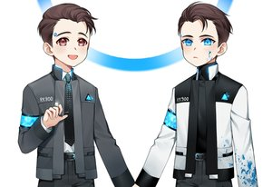Rating: Safe Score: 4 Tags: all_male aqua_eyes blood brown_eyes brown_hair connor_(detroit:_become_human) detroit:_become_human male robot short_hair suit tagme_(artist) tie white User: otaku_emmy