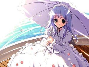 Rating: Safe Score: 40 Tags: goth-loli lolita_fashion minakami_aria pink_chuchu sister_princess umbrella water User: gnarf1975