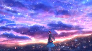 Rating: Safe Score: 43 Tags: black_eyes blue_hair bou_nin clouds gloves headphones long_hair original scarf sky User: RyuZU