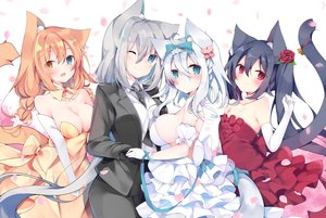Rating: Safe Score: 94 Tags: animal_ears bicolored_eyes black_hair blue_eyes blush bow braids breasts brown_hair catgirl cleavage dress elbow_gloves flowers gloves gray_hair group long_hair no_bra original red_eyes rose satsuki_mayuri sideboob suit tail tie wink User: RyuZU