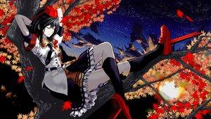 Rating: Safe Score: 74 Tags: autumn black_hair hat kneehighs leaves night shameimaru_aya sky sleeping stars tie touhou tree umami User: Tensa