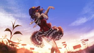 Rating: Safe Score: 96 Tags: bandage blue_eyes brown_hair clouds dress grass hat miyako_yoshika short_hair sky sunset tagme_(artist) third-party_edit touhou User: luckyluna