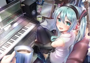 Rating: Safe Score: 62 Tags: aqua_eyes aqua_hair computer drink guitar hatsune_miku headphones imo_bouya instrument long_hair music paper piano skirt tattoo thighhighs twintails vocaloid User: RyuZU