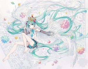 Rating: Safe Score: 42 Tags: aqua_eyes aqua_hair crown hatsune_miku ikushima long_hair see_through skirt stockings thighhighs tie vocaloid wings User: RyuZU