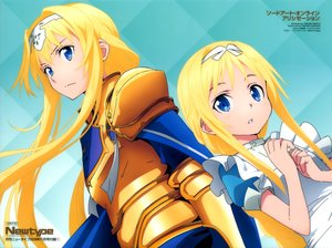Rating: Safe Score: 38 Tags: alice_schuberg apron armor blonde_hair blue_eyes cape headband loli long_hair scan sword_art_online sword_art_online_alicization watermark yokota_takumi User: RyuZU
