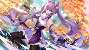 Rating: Safe Score: 54 Tags: augu_(523764197) autumn genshin_impact keqing_(genshin_impact) leaves long_hair purple_hair sword twintails water weapon User: BattlequeenYume