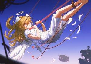 Rating: Safe Score: 28 Tags: angel barefoot blonde_hair bondage dress halo long_hair original orlijiang red_eyes watermark wings User: mattiasc02