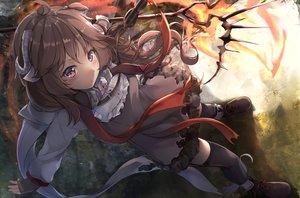 Rating: Safe Score: 39 Tags: animal_ears arknights blush brown_hair dress eyjafjalla_(arknights) gloves horns long_hair ponyaru purple_eyes stockings User: BattlequeenYume