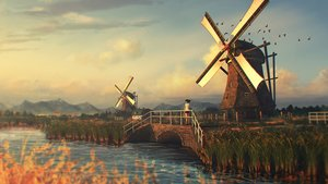 Rating: Safe Score: 164 Tags: clouds grass landscape natsu3390 original realistic scenic sky sunset water windmill User: FormX
