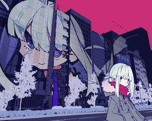 Rating: Safe Score: 72 Tags: building city hoodie long_hair mochizuki_kei original purple_eyes scarf tree white_hair User: BattlequeenYume