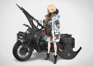 Rating: Safe Score: 38 Tags: blonde_hair boots eyepatch hoodie motorcycle orange_eyes original short_hair weapon yucca-612 User: sadodere-chan