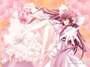 Rating: Safe Score: 47 Tags: airi_(quilt) brown_hair carnelian flowers long_hair quilt red_eyes wedding_attire User: Oyashiro-sama