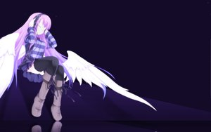 Rating: Safe Score: 80 Tags: angel blue headphones pink_hair wings User: Lynxss