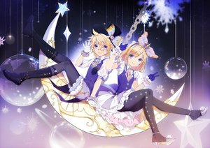 Rating: Safe Score: 51 Tags: blonde_hair boots chain crown gloves hat hmniao kagamine_len kagamine_rin male moon pantyhose purple_eyes short_hair tie vocaloid wristwear User: RyuZU