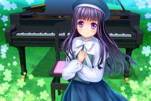 Rating: Safe Score: 56 Tags: blush book bow card_captor_sakura daidouji_tomoyo dress grass hat instrument long_hair moonknives piano purple_eyes purple_hair User: SciFi