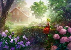 Rating: Safe Score: 45 Tags: building flowers grass green_hair kazami_yuuka miso_pan red_eyes scenic shade short_hair skirt touhou tree User: RyuZU