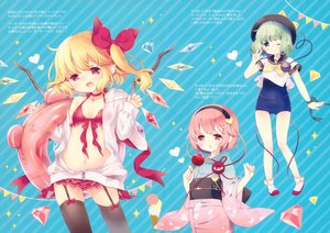 Rating: Safe Score: 44 Tags: aogiri_sei apple blonde_hair blue bra candy choker fang flandre_scarlet food fruit garter_belt green_eyes green_hair hat headband hoodie japanese_clothes komeiji_koishi komeiji_satori loli panties pink_hair pointed_ears ponytail red_eyes scan school_swimsuit school_uniform short_hair stockings swim_ring swimsuit touhou underwear vampire wings wink yukata User: otaku_emmy