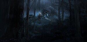 Rating: Safe Score: 39 Tags: blue_eyes bones brown_hair dark forest gun long_hair morichika_shuuto original tree weapon User: BattlequeenYume