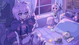 Rating: Safe Score: 24 Tags: aeruusa animal_ears bed blush catgirl cat_smile collar dark doll hololive hoodie nekomata_okayu night phone purple purple_eyes purple_hair short_hair tail User: otaku_emmy