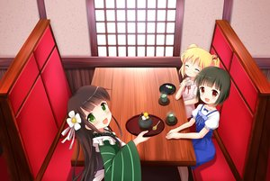 Rating: Safe Score: 57 Tags: alice_cartelet apron blonde_hair blush bow brown_eyes brown_hair crossover dress drink flowers food gochuumon_wa_usagi_desu_ka? green_eyes japanese_clothes kiniro_mosaic long_hair oomiya_shinobu ribbons short_hair twintails ujimatsu_chiya yuyumi_(yuurei) User: kokiriloz