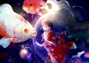 Rating: Safe Score: 44 Tags: animal black_hair blue_eyes braids fish japanese_clothes kimono long_hair original watermark yumemitsuki125 User: RyuZU