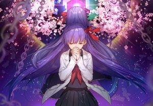 Rating: Safe Score: 188 Tags: bow chain cherry_blossoms chokoan_(tyokoa5659) fate/extra fate/extra_ccc fate_(series) flowers long_hair matou_sakura petals purple_hair seifuku skirt User: RyuZU