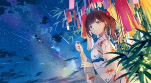 Rating: Safe Score: 77 Tags: brown_hair clouds japanese_clothes original pink_eyes ponytail short_hair sky stars sutorora yukata User: RyuZU