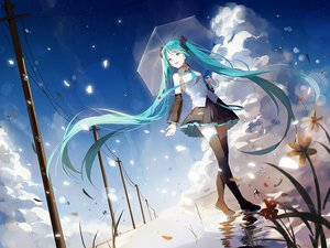 Rating: Safe Score: 63 Tags: aiko_(kanl) aqua_eyes aqua_hair clouds flowers hatsune_miku long_hair reflection skirt sky thighhighs tie twintails umbrella vocaloid water User: RyuZU